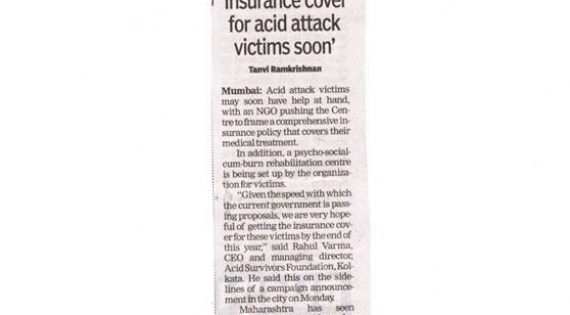 Insurance cover for acid attack survivors soon : The Times of India